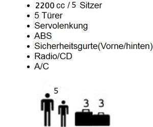 2200 cc 5 Türen Servolenkung ABS Sicherheitsgurte(Vorder-und Rückseite) Radio/CD A/C